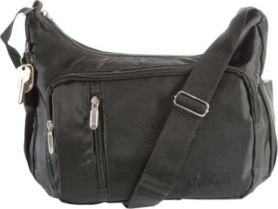 Suvelle Slouch Travel Everyday Shoulder Bag Black - Suvelle Fabric Handbags