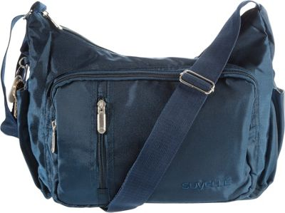 Suvelle Slouch Travel Everyday Shoulder Bag Navy - Suvelle Fabric Handbags