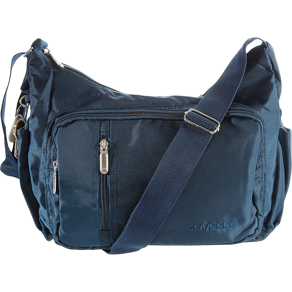 Suvelle Slouch Travel Everyday Shoulder Bag Navy Suvelle Fabric Handbags