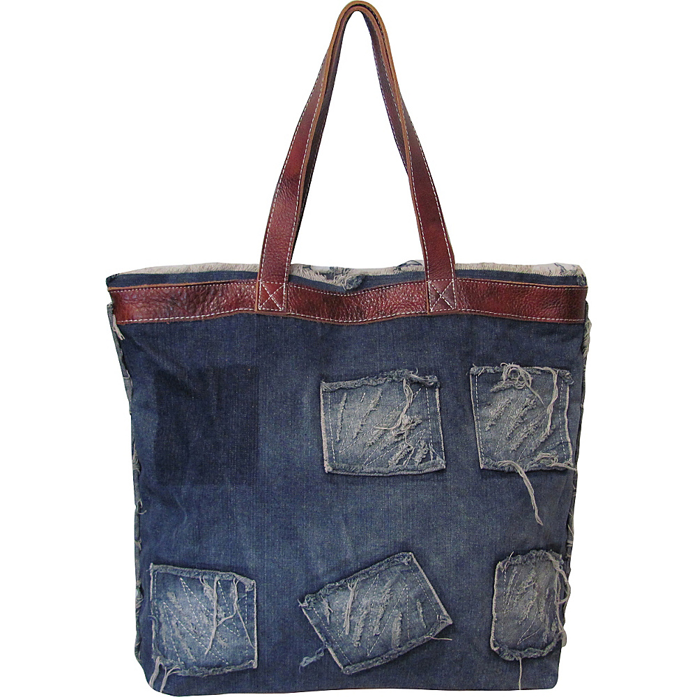 AmeriLeather Hollis Ripped Denim/Leather Trim Tote Denim/Leather - AmeriLeather Fabric Handbags - Handbags, Fabric Handbags