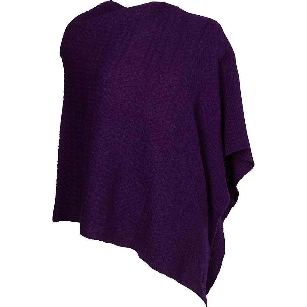 Kinross Cashmere Twisted Cable Drape Poncho Wild Violet Kinross Cashmere Women s Apparel