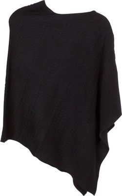 Kinross Cashmere Twisted Cable Drape Poncho Black - Kinross Cashmere Women's Apparel