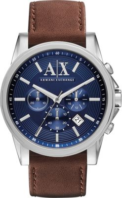 A/X Armani Exchange Outer Banks Chronograph Leather Watch Brown - A/X Armani Exchange Watches