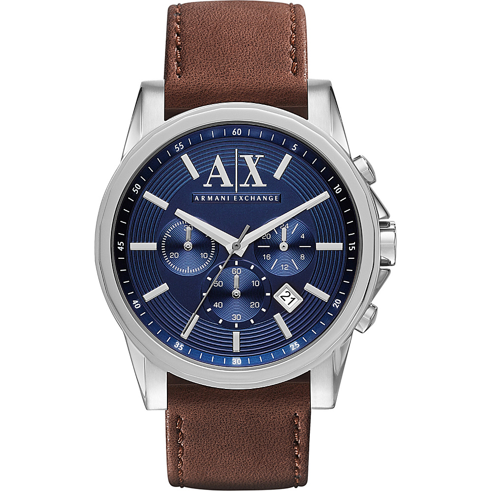 A X Armani Exchange Outer Banks Chronograph Leather Watch Brown A X Armani Exchange Watches