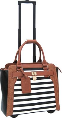 Cabrelli Sally Stripe 15 inch Laptop Rollerbrief Black/White/Cognac - Cabrelli Wheeled Business Cases