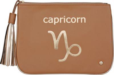 Stephanie Johnson Zodiac Large Flat Cosmetic Pouch Tan/Capricorn - Stephanie Johnson Travel Health & Beauty