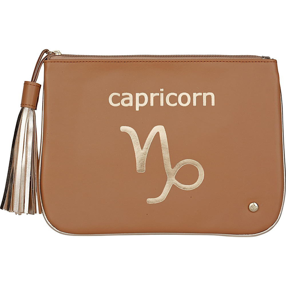 Stephanie Johnson Zodiac Large Flat Cosmetic Pouch Tan Capricorn Stephanie Johnson Women s SLG Other
