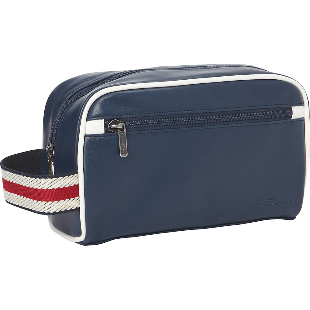 Ben Sherman Luggage Regent s Park Collection Single Compartment Top Zip Travel Kit Navy White Ben Sherman Luggage Toiletry Kits