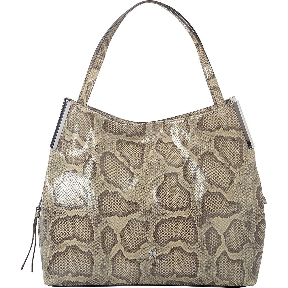 Vince Camuto Tina Tote Python Khaki DarkBrown Vince Camuto Designer Handbags