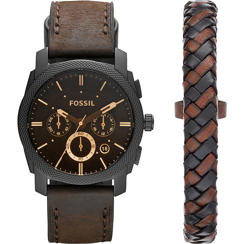 Fossil Machine Chronograph Leather Watch and Bracelet Box Set Brown - Fossil Watches - Fashion Accessories, Watches