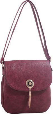 MKF Collection by Mia K. Farrow Isobel Saddle Cross Body Bag Wine - MKF Collection by Mia K. Farrow Leather Handbags