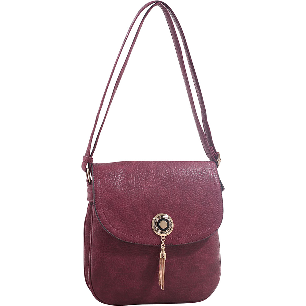 MKF Collection by Mia K. Farrow Isobel Saddle Cross Body Bag Wine - MKF Collection by Mia K. Farrow Leather Handbags - Handbags, Leather Handbags