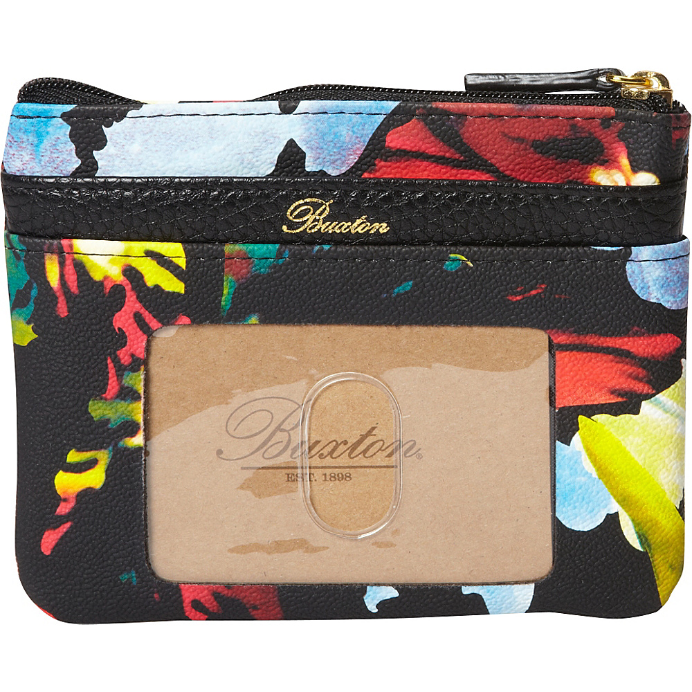 Buxton Abstract Floral Pik-Me-Up Large I.D. Coin / Card Case Black - Buxton Womens Wallets - Women's SLG, Women's Wallets