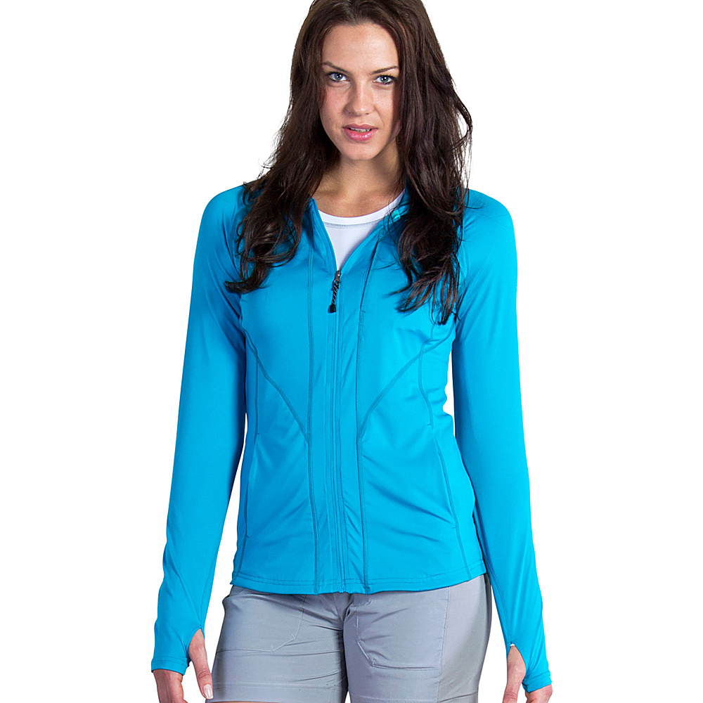 ExOfficio Womens Sol Cool Hooded Zippy M - Deep Sea - ExOfficio Womens Apparel - Apparel & Footwear, Women's Apparel