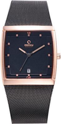 Obaku Watches Mens Stainless Steel Mesh Watch Black/Rose Gold - Obaku Watches Watches