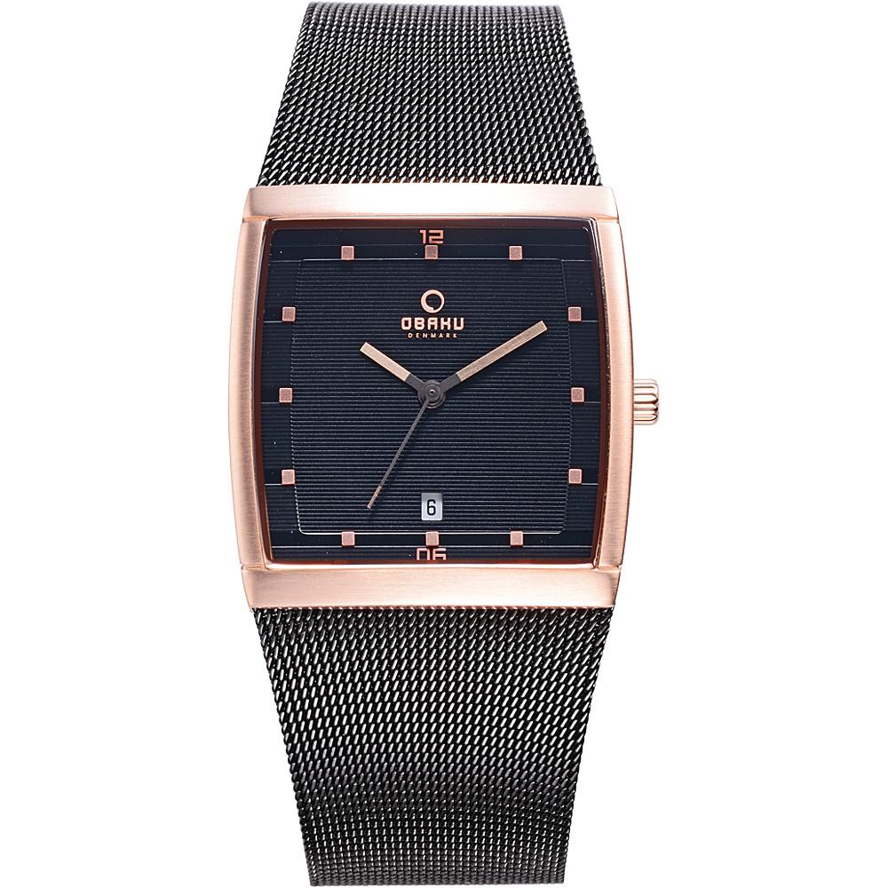 Obaku Watches Mens Stainless Steel Mesh Watch Black Rose Gold Obaku Watches Watches