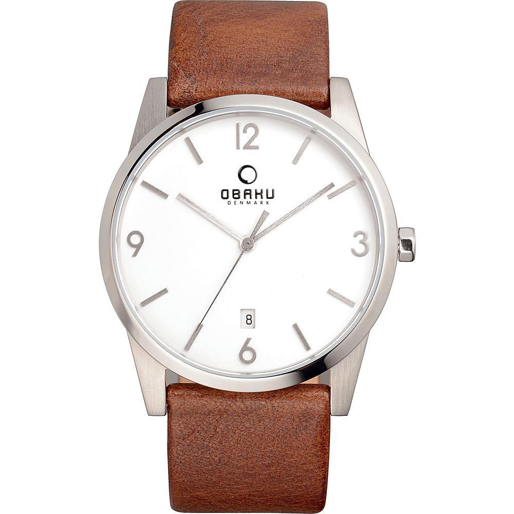 Obaku Watches Mens Leather Watch Brown Silver Obaku Watches Watches