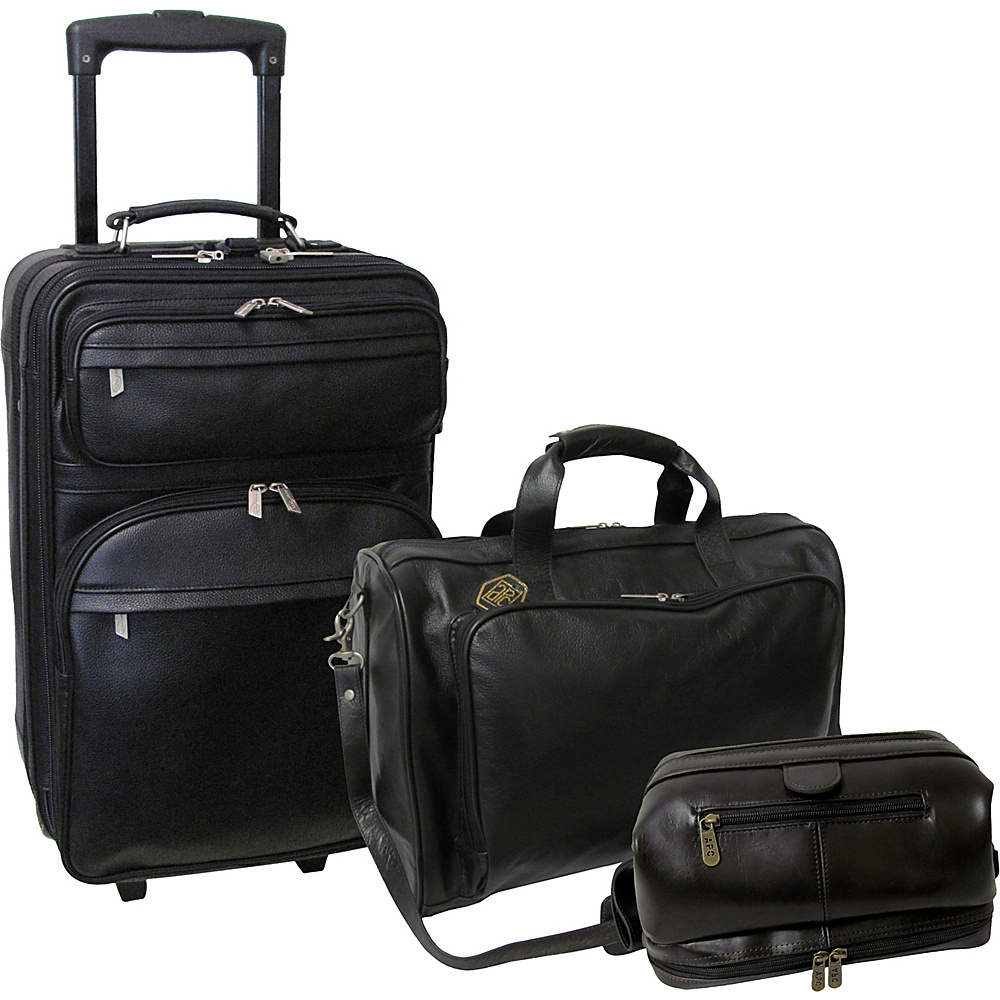 AmeriLeather Cannon 3pc Leather Luggage Set Black - AmeriLeather Luggage Sets - Luggage, Luggage Sets