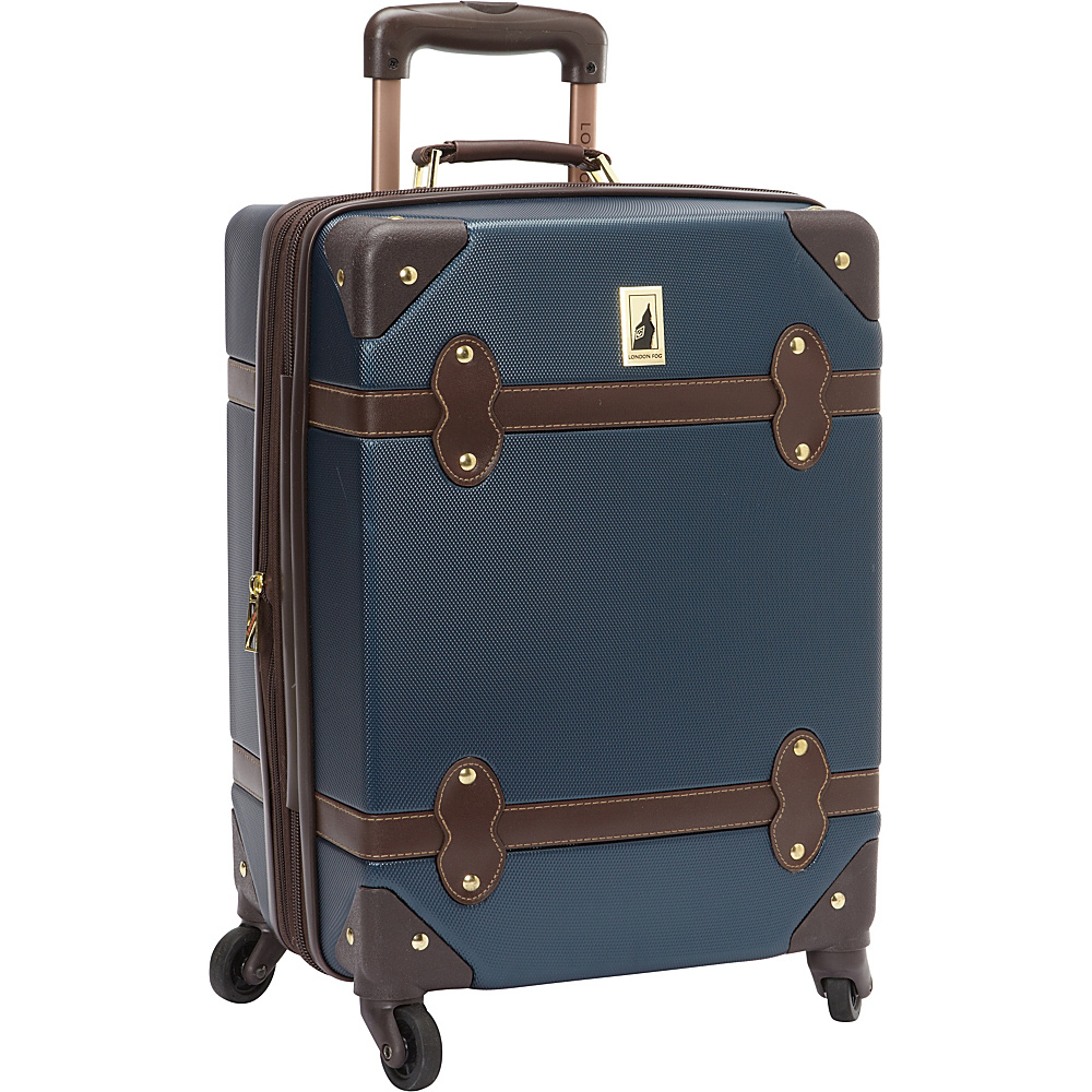 London Fog Retro 20 Expandable Hardside Spinner Carry On Navy Brown London Fog Softside Carry On