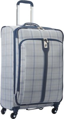 London Fog Knightsbridge Hyperlight 25 inch Expandable Spinner Grey/Navy Plaid - London Fog Softside Checked