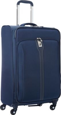 London Fog Knightsbridge Hyperlight 25 inch Expandable Spinner Navy - London Fog Softside Checked