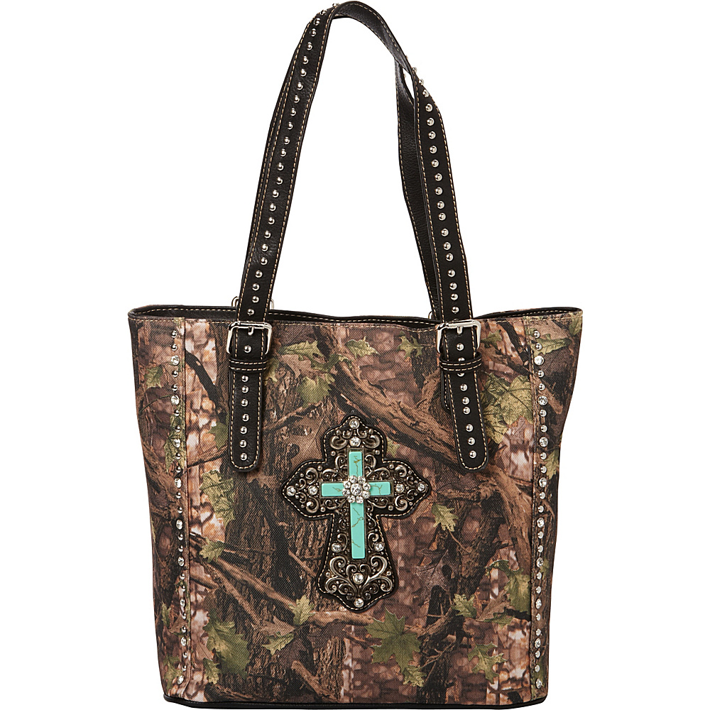 Montana West Spiritual Collection Camouflage Handbag Green Black Montana West Manmade Handbags
