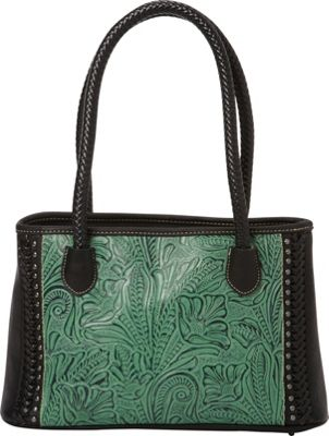 Montana West Montana West Floral Leaf Pattern in Tooling Handbag Green/Black - Montana West Manmade Handbags