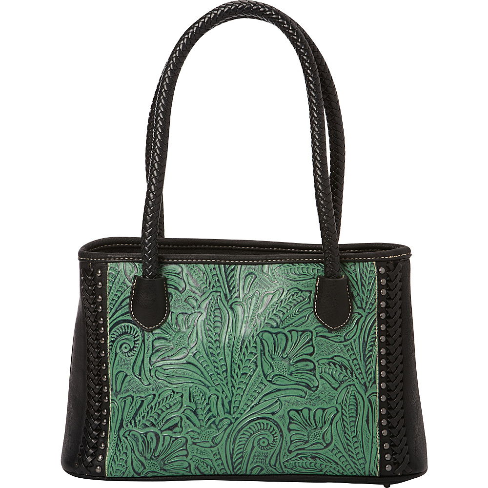 Montana West Floral Leaf Pattern in Tooling Handbag Green Black Montana West Manmade Handbags