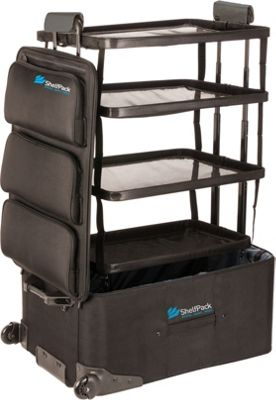ShelfPack 28 inch Rolling Luggage with Built-In Shelves Black - ShelfPack Softside Checked