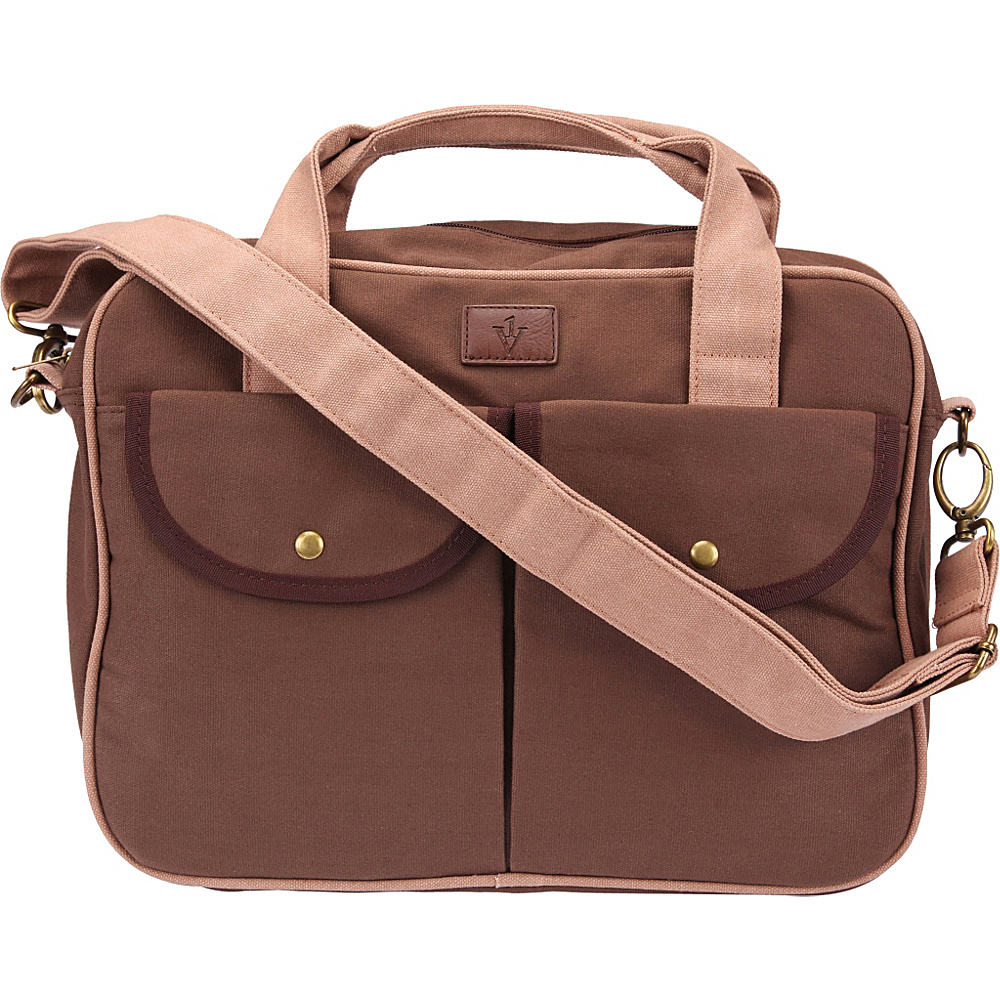 1Voice The Gentry Charging Messenger Bag with 10 000mAh Battery Built in Brown 1Voice Messenger Bags