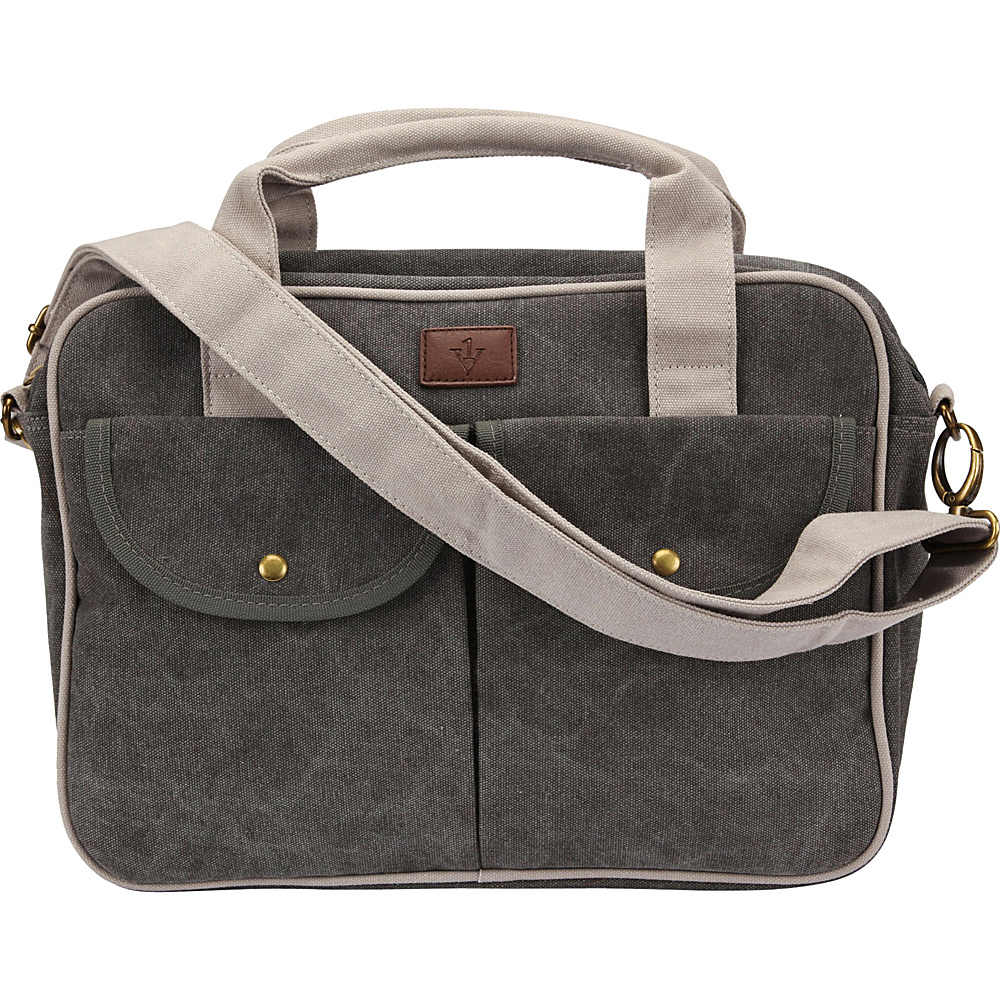 1Voice The Gentry Charging Messenger Bag with 10 000mAh Battery Built in Dark Grey 1Voice Messenger Bags