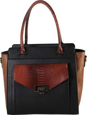 Diophy Push Lock Front Pocket with Crocodile Print Structured Satchel Black - Diophy Manmade Handbags