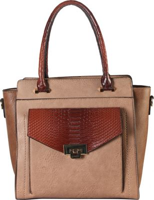 Diophy Push Lock Front Pocket with Crocodile Print Structured Satchel Taupe - Diophy Manmade Handbags