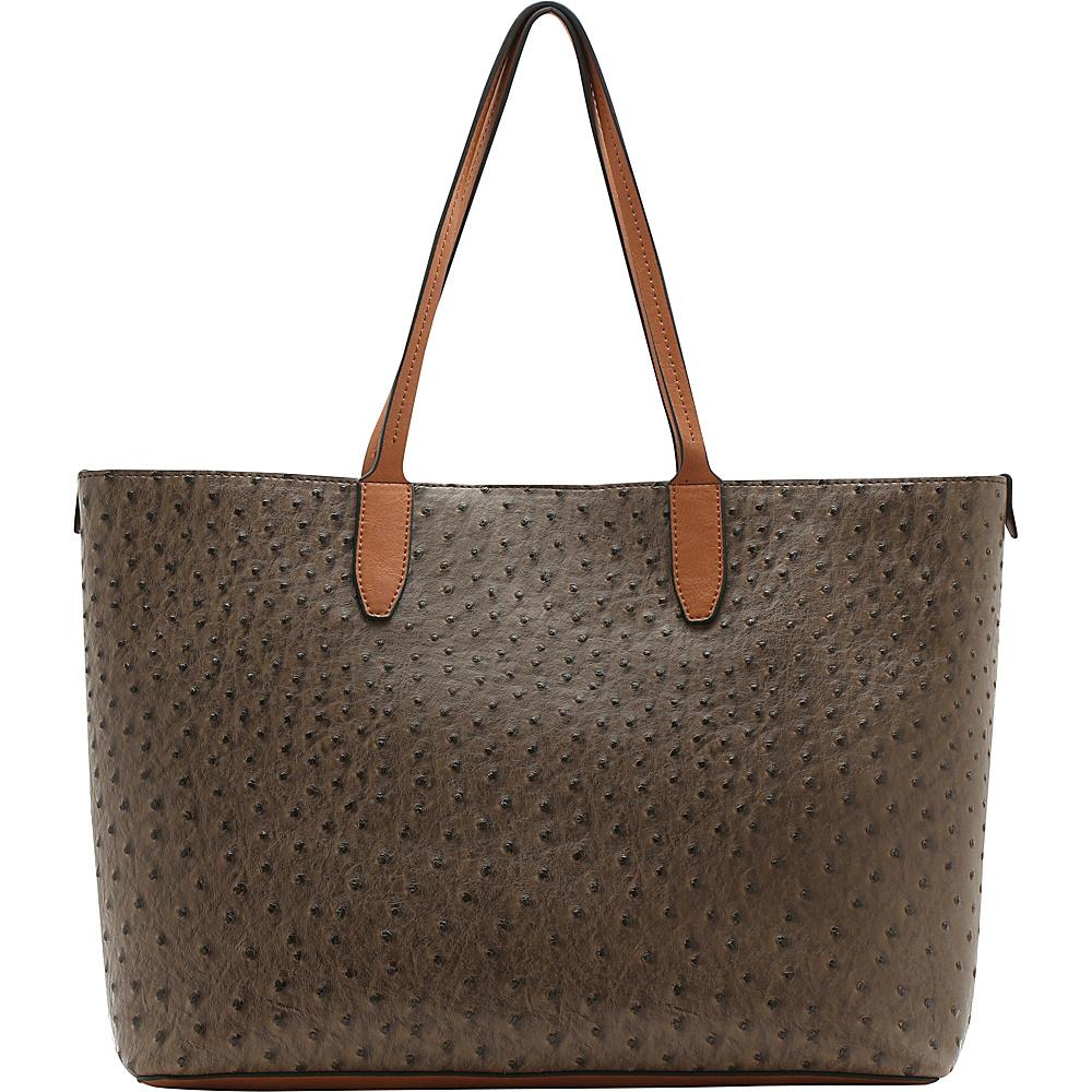 Emilie M Loren Large Double Shoulder Mink Ostrich Emilie M Manmade Handbags