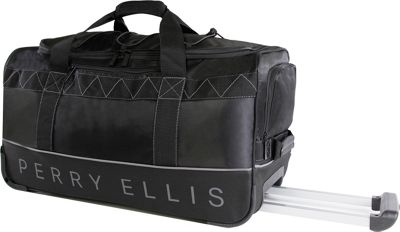 Perry Ellis 24 inch Lightweight Rolling Duffel Bag Black/Grey - Perry Ellis Softside Checked