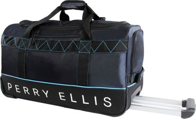 Perry Ellis 24 inch Lightweight Rolling Duffel Bag Navy/Blue - Perry Ellis Softside Checked