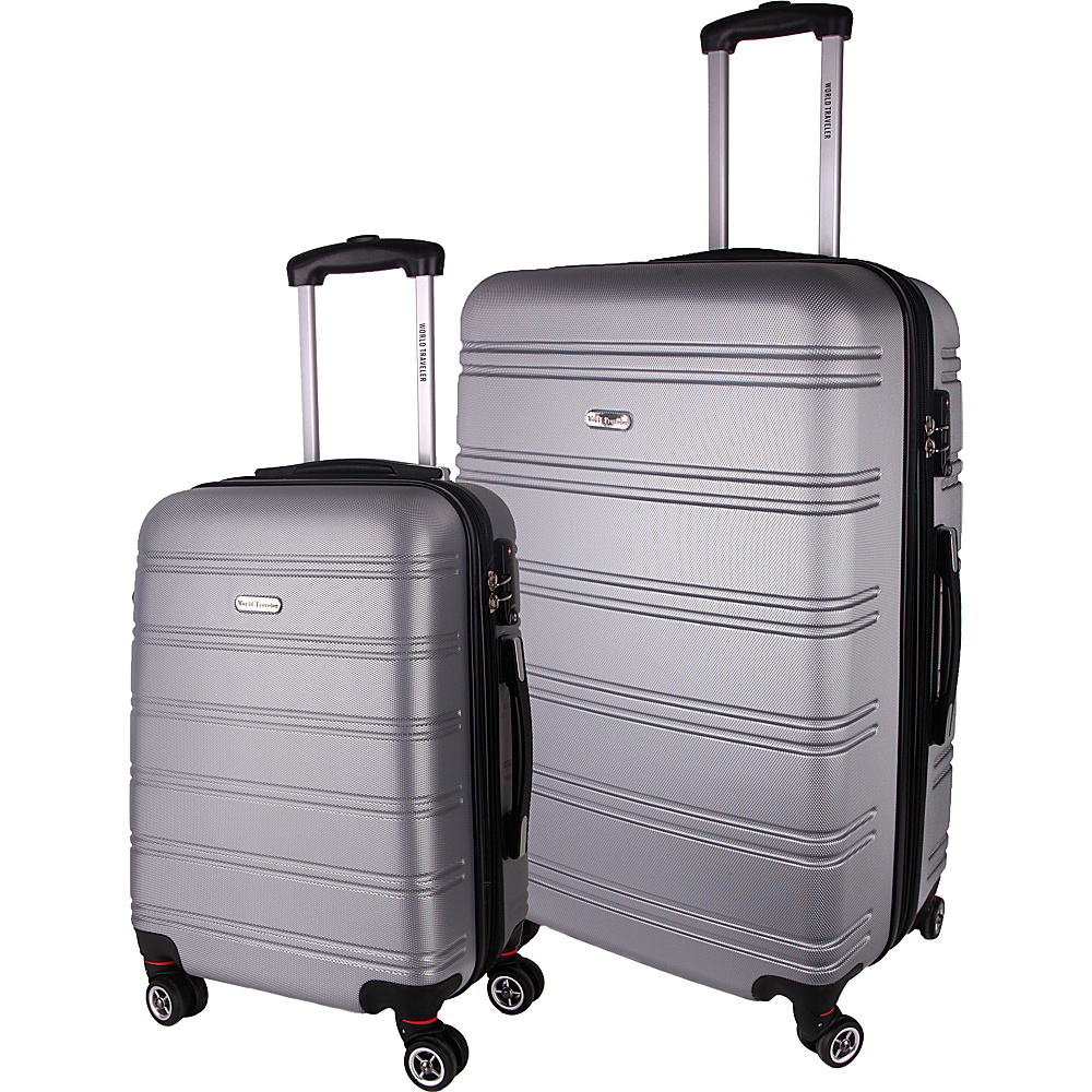 World Traveler Bristol II 2-Piece Hardside Spinner Luggage Set Silver - World Traveler Luggage Sets - Luggage, Luggage Sets