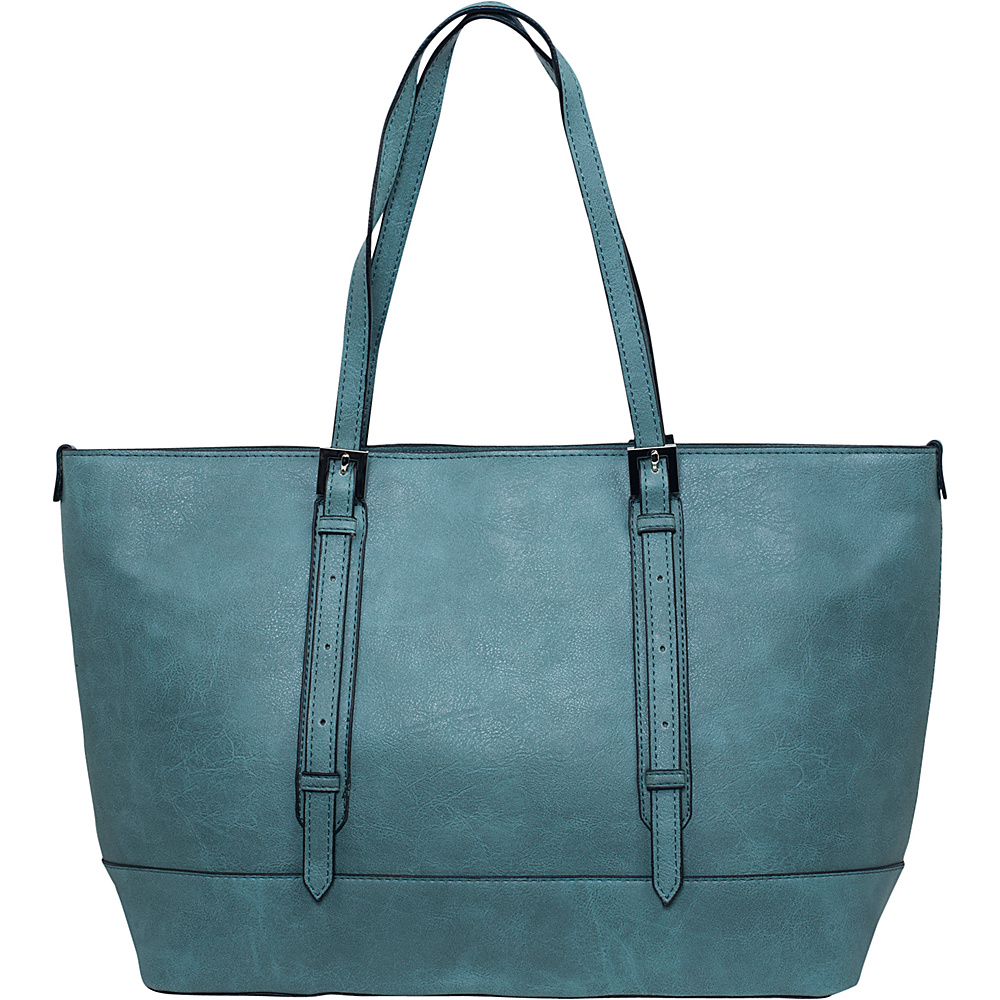 Emilie M Flynn Double Shoulder Bag Teal Emilie M Manmade Handbags