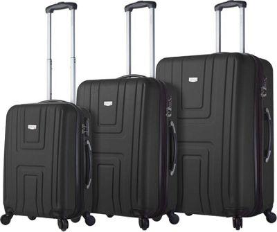 Mia Viaggi ITALY Ferrara Hardside 3 Piece Spinner Set Black - Mia Viaggi ITALY Luggage Sets