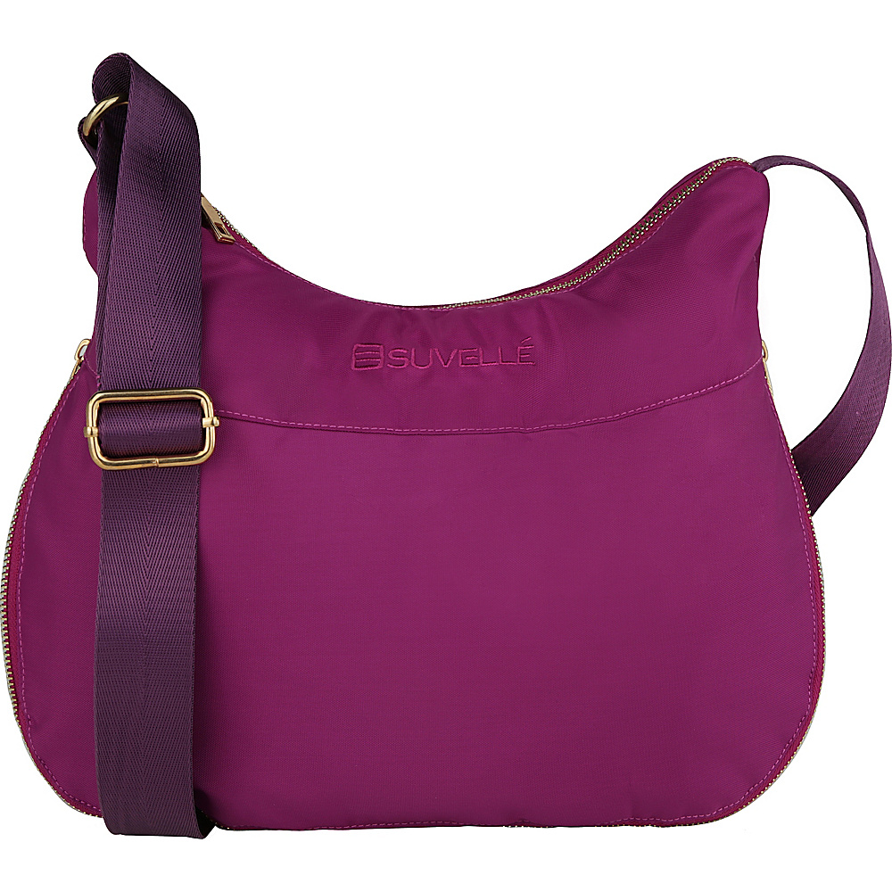 Suvelle RFID Expandable Travel Convertible Crossbody Bag Eggplant Suvelle Fabric Handbags