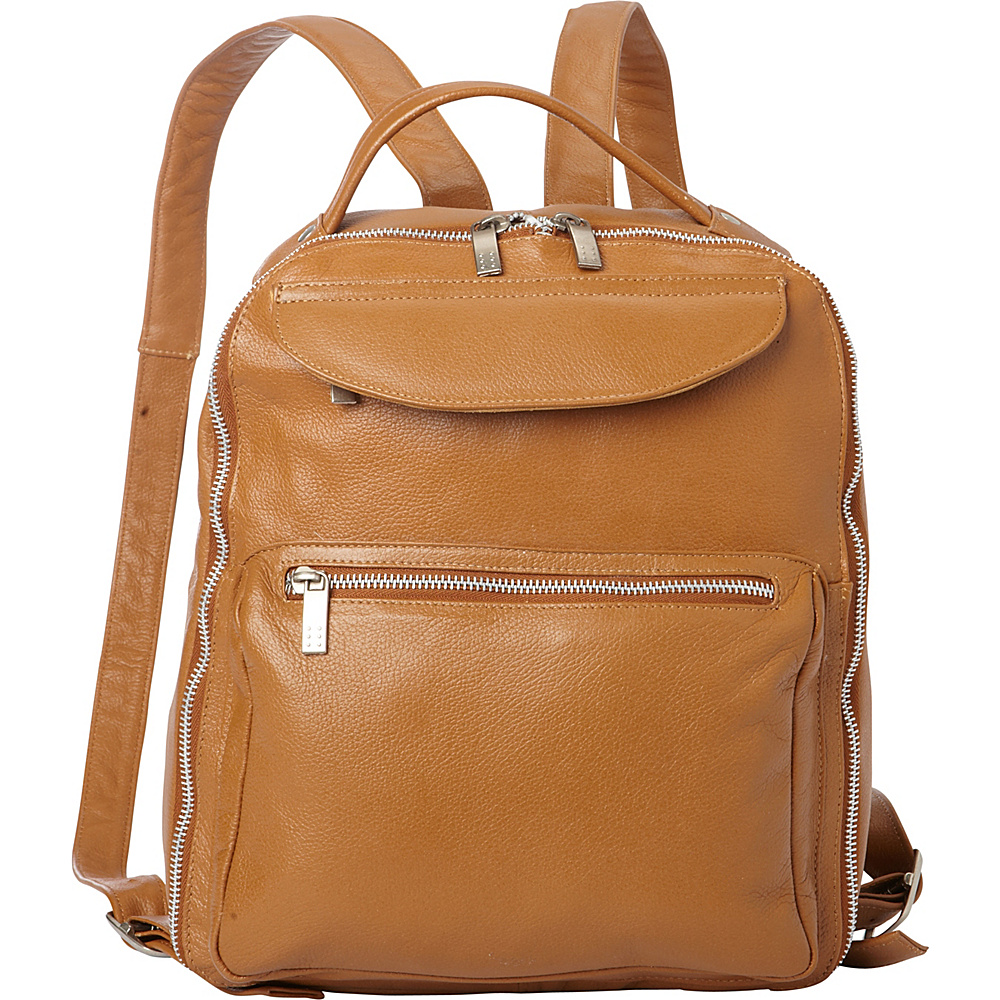 Piel Front Pocket Leather Backpack Saddle - Piel Leather Handbags - Handbags, Leather Handbags