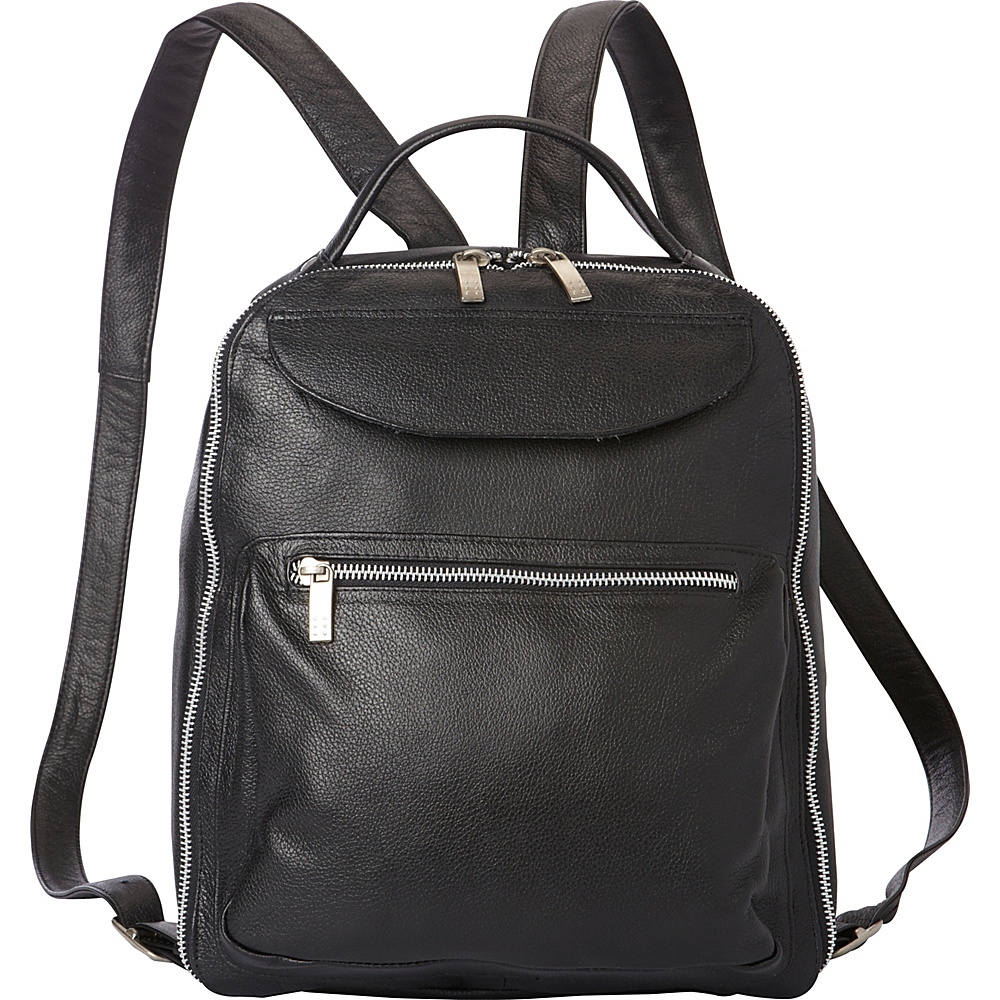 Piel Front Pocket Leather Backpack Black - Piel Leather Handbags - Handbags, Leather Handbags