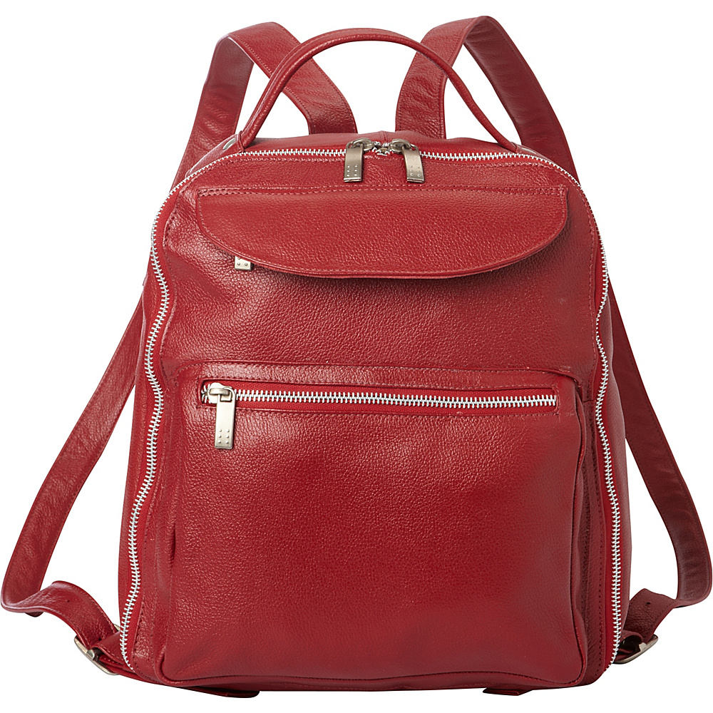 Piel Front Pocket Leather Backpack Red - Piel Leather Handbags - Handbags, Leather Handbags