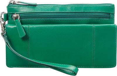 Mancini Leather Goods RFID Secure Collection: Ladies Wristlet Wallet Apple Green - Mancini Leather Goods Women's Wallets