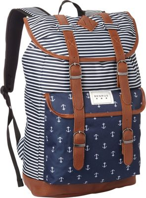 BENRUS Scout Backpack Navy Stripe/Anchor - BENRUS Everyday Backpacks