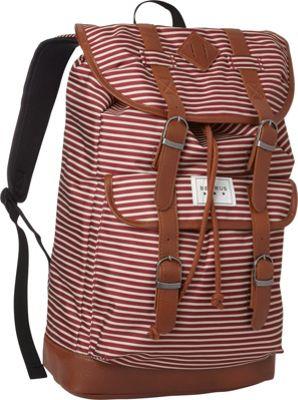 BENRUS Scout Backpack Burgundy/Khaki Stripe - BENRUS Everyday Backpacks