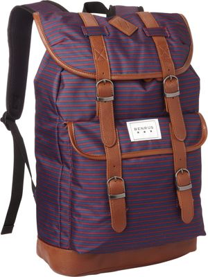 BENRUS Scout Backpack Burgundy/Navy Stripe - BENRUS Everyday Backpacks