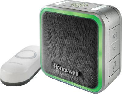 Honeywell Plug-In Wireless Doorbell with Halo Light & Push Button Grey - Honeywell Smart Home Automation