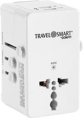 Travel Smart by Conair All In One Adapter With 2 Outlets and 2 USB Ports White - Travel Smart by Conair Electronic Accessories
