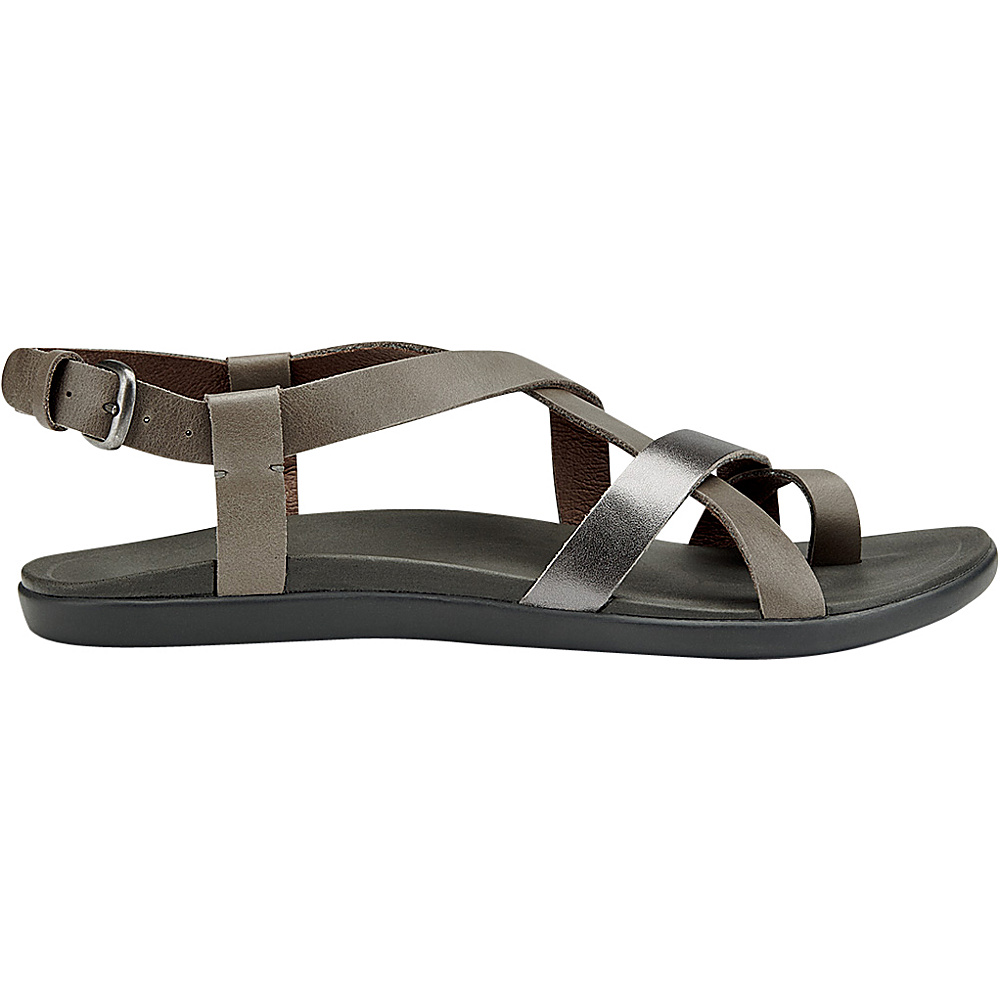 OluKai Womens Upena Sandal 6 - Charcoal/Pewter - OluKai Womens Footwear - Apparel & Footwear, Women's Footwear